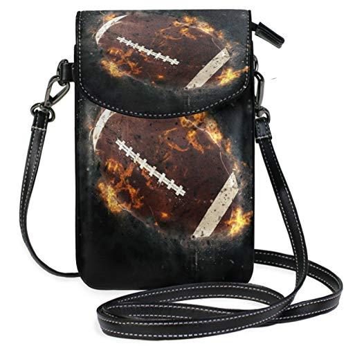 iRoad Mini-Geldbörse, Rugby-Ball, Feuer-Malerei, Geldbörse mit Schultergurt, Crossbody-Tasche, Handy-Tasche, Geldbörse, Tasche für Frauen und Mädchen