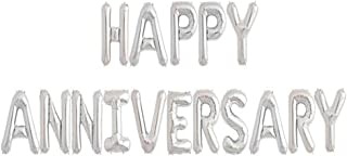 Tellpet Happy Anniversary Balloons, Anniversary Party Decorations, Silver, 16 Inch