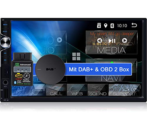 Tristan Auron BT2D7025A Android 10.0 Autoradio + DAB Plus Box OBD 2 Box - 7'' Touchscreen Bildschirm I Bluetooth Freisprecheinrichtung GPS Navi USB SD 2 Din