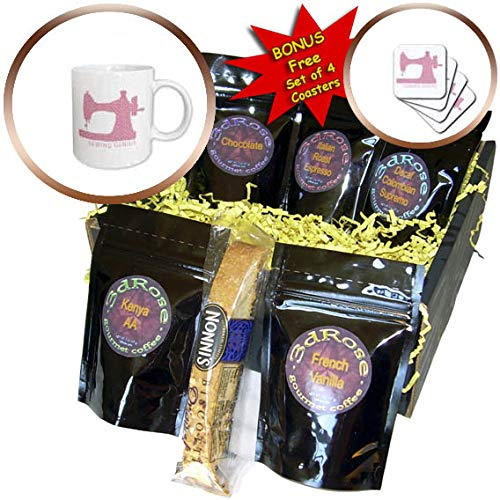 3dRose Alexis Design - Best Professional Ever - Pink, white polka dot sewing machine. Sewing genius text. Best ever - Coffee Gift Basket (cgb_319741_1)