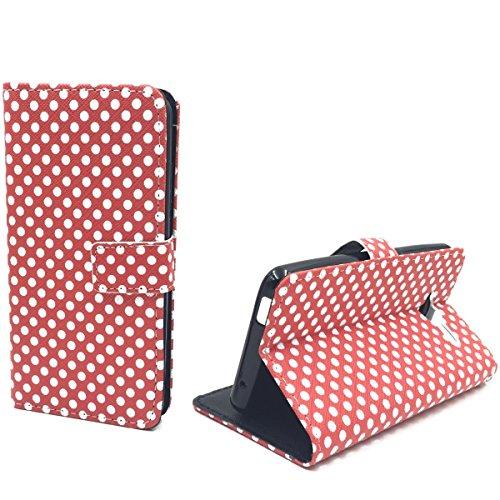 König Design Handyhülle Kompatibel mit ZTE Blade L3 Handytasche Schutzhülle Tasche Flip Hülle mit Kreditkartenfächern - Polka Dot Weiße Punkte Rot