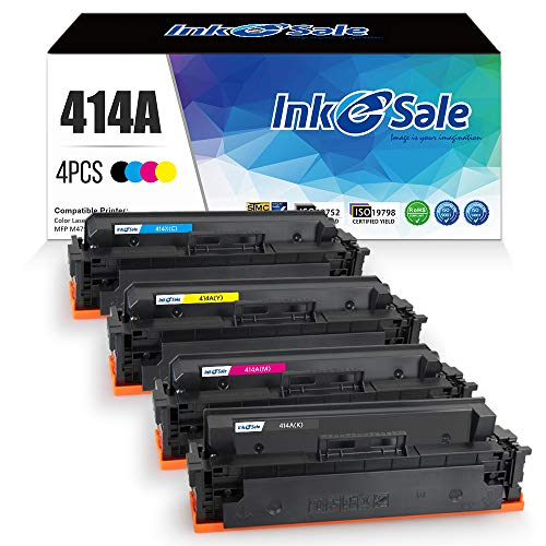 INK E-SALE 4-Packs Compatible Toner Cartridge Replacement for HP 414A M454dw M479fdw 414X for HP Color Laserjet Pro M454dw M454 M454dn MFP M479fdw M479fdn Black Cyan Yellow Magenta Printer