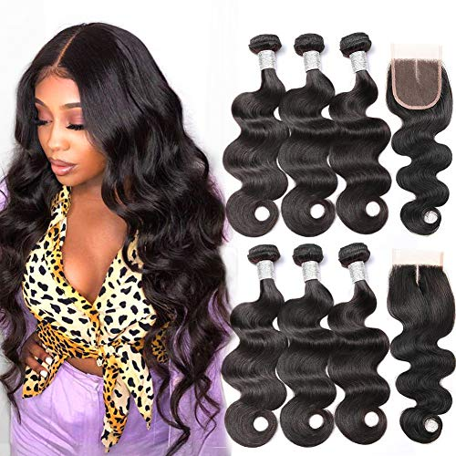 Beauty Princess Body Wave Human Hair 3 Bundles with Closure Double Weft 9A Brazilian Hair Bundles With Closure (16 18 20 with 14, Middle Part)