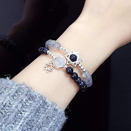 Pulsera de cristal natural Estrella de David Feng Shui Pulsera Moonstone Blue Sandstone Hexagram Hexagram Pure Silver Charm Luck-Turn-En-Your-Favor Bead curativo Chakra Gemstone Amuleto Talisman Unise