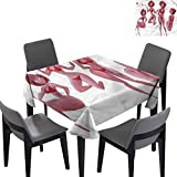 Modern Outdoor Square Tablecloth Sexy Woman in Swimwear Waterproof/Oil-Proof/Spill-Proof Tabletop 63x63 inch