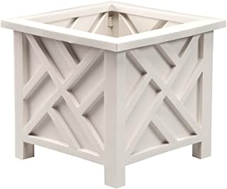 "Miles Kimball 329156 Chippendale Planter Box, Plant Holder for Patio and Lawn, 14 ¾"" sq. x 13 ¼ H Overall, White"