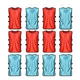 VORCOOL Petos de Futbol para Niños y Jóvenes Petos Deportivos - Tamaño S (Azul Claro + Rojo) 12 Piezas
