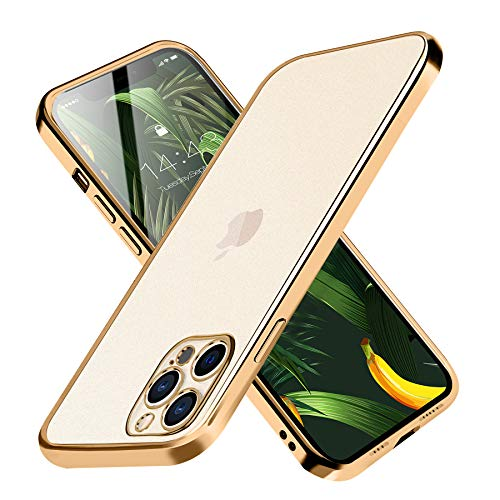 Compatible with iPhone Ultra-Slim TPU Drop Protection Cell Phone Case, Transparent Shockproof Anti-Scratch Electroplating Cover (iPhone 12 Pro Max Case, Gold)