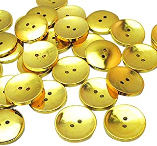 Chenkou Craft Gold Round Plastic Buttons 2 Holes Sewing Craft 25mm 30pcs