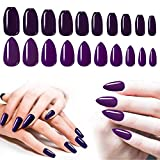 Purple Glue On Nails, 200PCS Cosics Glossy False Nail Almond Stiletto Medium & Ballerina Ballet Nail Tips Full Cover, Acrylic Press On Nails Coffin for Women & Girls Halloween Party Nail Art DIY, Gift