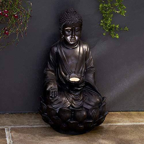 Lights4fun LED Buddha solarbetrieben grau 39cm hoch