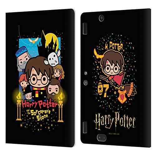 Head Case Designs Oficial Harry Potter Piedra Filosofal Deathly Hallows I Carcasa de Cuero Tipo Libro Compatible con Amazon Kindle Fire HDX 8.9