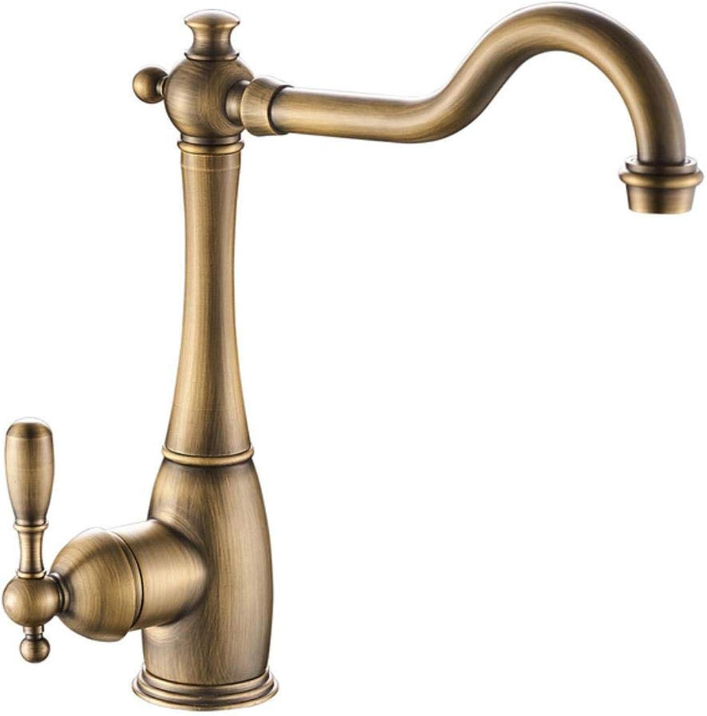 Kai&Guo Retro Style Crane Chrome gold Antique Bronze Kitchen Faucet Swivel Bathroom Basin Faucet Brass Sink Faucet Water Mixer Tap,antique bronze