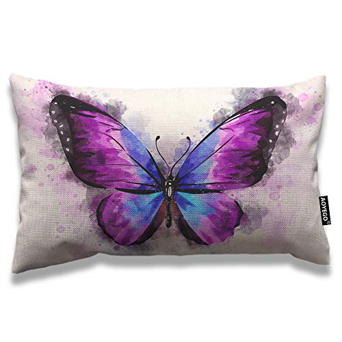 AOYEGO Butterfly Throw Pillow Cover 12x20 Inch Watercolor Animal Bird Magical Fantasy Butterflies Rectangle Pillow Cases Home Decorative Cotton Linen Cushion Cover for Bed Sofa Purple Black