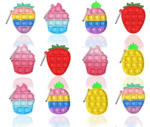kapibarasensei 12 Pcs Mini Push pop Bubble Fidget Toy, Simple Fidget Toy, Keychain Bubble Pop Desk Toy, Decompression Toys Suitable for All Ages