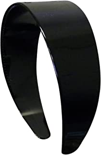 2 Inch Hard Plastic Headband with Teeth Women and Girls wide Hair band (Black)