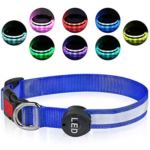 Plartree Verstellbares LED Leuchthalsband, 8 Farben USB Wiederaufladbares Wasserdichtes Hundehalsband für Mittlere/Große Hunde, Leichte Outdoor Trainingshalsbänder, Anpassen(38-55cm,2.5cm)