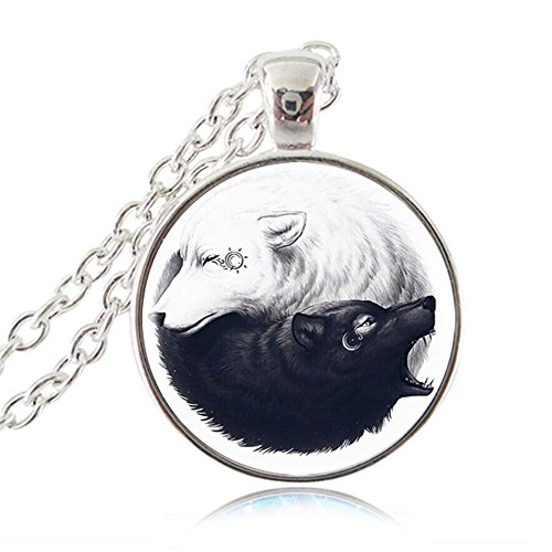 Ouke Trading Co.,Ltd. Ying Yang Necklace Black and White Wolf Pendant Sun and Moon Fashion Jewelry Tai Chi Animal Jewellery