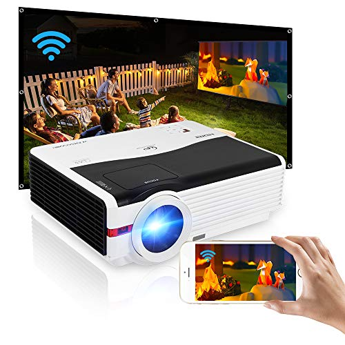 Portable Android Bluetooth Projector,200 Inch Outdoor Movie Gaming Home Theater Projector Support 1920x1080 Video Zoom Wireless Airplay Smart Phone iOS Windows HDMI USB AV Audio Laptop DVD Fire Stick