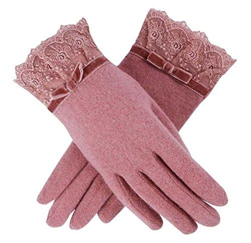 Blancho Frauen-im Freienhandschuh-Verdickung-Warmer Handschuh-Wolle-Spitze-Mittens Art- und Weisehandschuh