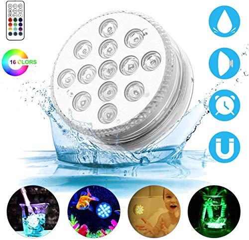 Luz subacuatica Surfilter 13-LED Luz sumergible RGB Multicolor Luz IP68 Impermeable con control remoto RF Luz de decoracion para mesa de comedor Florero Base Tanque de peces Piscina Fiesta H