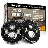SUNPIE 7 inch Black LED Headlights Bulb for J eep Wrangler IP67 Waterproof Replacement Lights for 2007-2018 JK/JKU Rubicon,Sahara, Sport, 2004-2006 LJ, 1997-2006 TJ, 1976-1986 CJ-7, 1981-1985 CJ-8