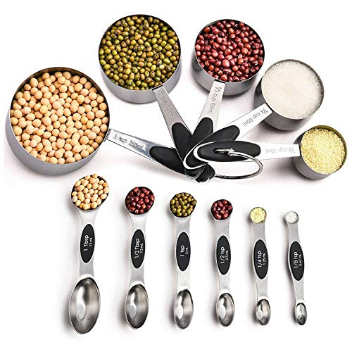 GreeSuit Cucharas Medidoras Juego de 5 cucharas dosificadoras de Acero Inoxidable de Doble Cara para Ingredientes líquidos y Secos, cocción y horneado (11 Set)