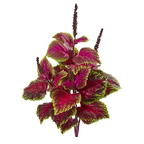 "Nearly Natural 23"" Coleus Bush Artificial (Set of 6) Silk Plants, Pink"