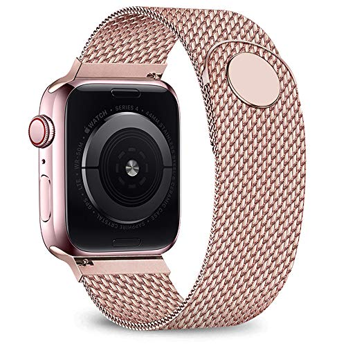 jwacct Compatible for Apple Watch Band 42mm 44mm, Adjustable Stainless Steel Mesh Wristband Sport Loop for iWatch Series 5 4 3 2 1,Pink Gold