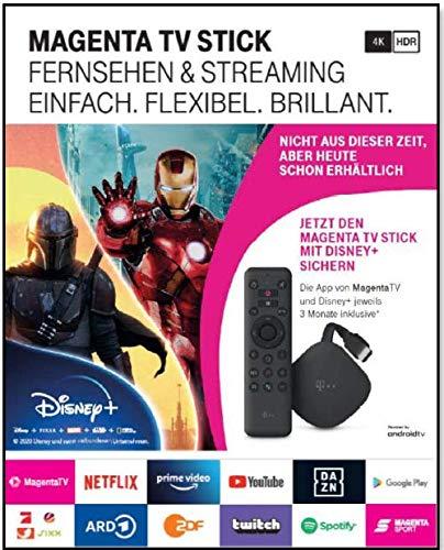 Telekom MagentaTV Stick | Televisione via Wi-Fi | Con MagentaTV su 50 canali TV HD | A casa o in viaggio | Servizi di streaming (Netflix, Prime Video, Disney+, TVNOW...) Android TV, 4K UHD