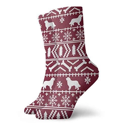 Berner Sennenhund Fair Isle Weihnachts-Silhouette Kastanienbraun Neuheit Mode Crew Socken Unisex Sportsocken Walking Athletic Socken