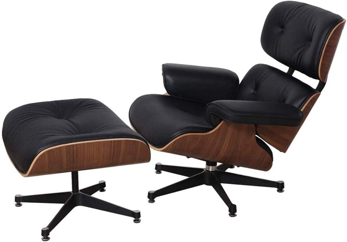 DIAOSI Sillón, Sillón Mid Century con Cuero Genuino Y Base De Aluminio Resistente Chaise Moderno para Dormitorio, Sala De Estar, Salón, Oficina