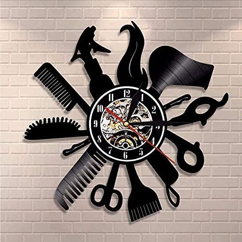 SSCLOCK Reloj de Pared de Vinilo para barbero, Reloj de Pared para barbería, Artista, decoración del hogar, decoración de Regalo para Mujeres, Reloj de Pared con Disco de Vinilo