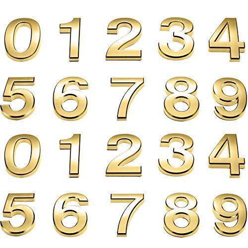 20 Pièces 2 Pouces Numéros de Boîte aux Lettres 0-10 Numéros d'Adresse Numéros de Porte Auto-Adhésifs Numéros de Boîte aux Lettres Réfléchissants pour Maison Boîte aux Lettres (Or, 2 Pouces)
