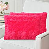 The Connecticut Home Company Soft Shag Pillowcases, 12x20 Set of 2, Shaggy Decorative Throw Case Sets, Many Colors, Luxury Accent Pillow Cover, Cases for Kids Bedroom, Living Room Sofa Couch, Hot Pink
