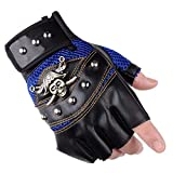 AlexVyan Imported 1 Pair Blue and Black Pirates Gloves Outdoor Gloves Protective Half