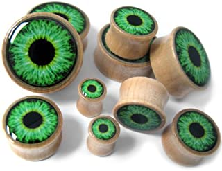 Pair of 0 Gauge (0G - 8mm) Green Eyeball Inlay Wood Plugs - Double Flares (WD034)