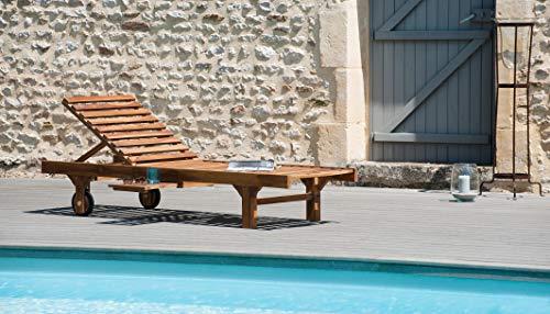 MACABANE 501195 Bain de Soleil Couleur Miel en Teck Dimension 65cm X 205cm X 30cm