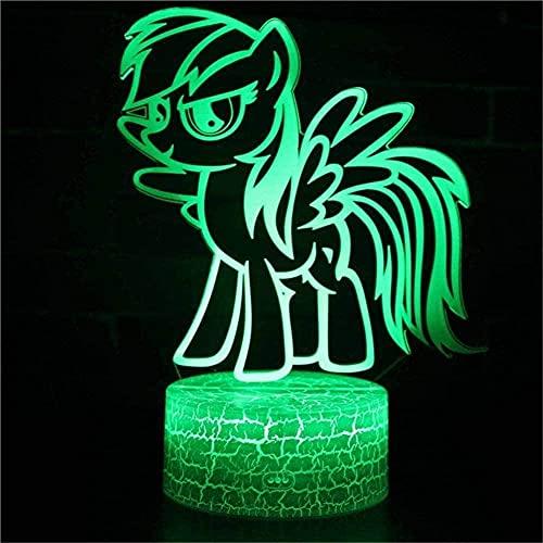 Lonfencr 3D Lámpara Visual Poco Pegasus Cargador USB Alimentado 3D Lámpara Luz 16 Color Decoración Decoraciones USB Power Touch Button