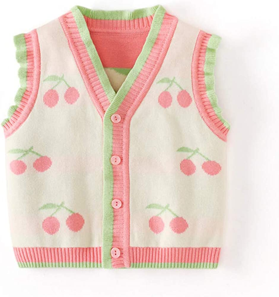 LittleSpring Fruity Baby Girl Vest Cardigan Ruffle Knit for Spring