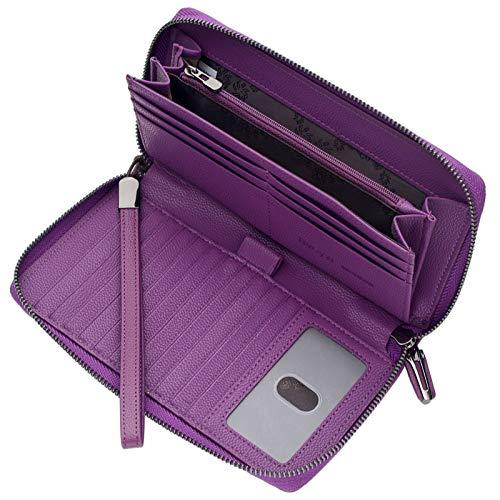 Portmonee Damen mit RFID Schutz Geldbeutel, Portemonnaie, Geldbörse, Brieftasche, Damengeldbeutel, Damengeldbörse lang groß viele fächer Leder Reissverschluss Lila
