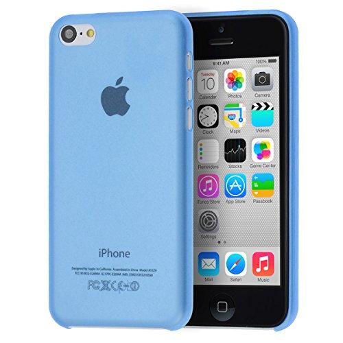 doupi UltraSlim Custodia per iPhone 5C, Satinato fine Piuma Facile Mat Semi Trasparente Cover, Blue