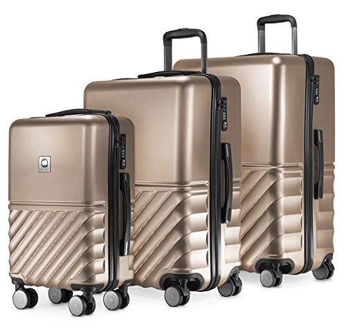 HAUPTSTADTKOFFER - Boxi - 3er Koffer-Set Trolley-Set Rollkoffer Reisekoffer TSA, 4 Rollen, (S, M & L), Gold