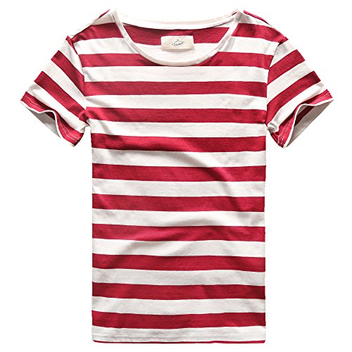 Zecmos Mens Striped T-Shirt Casual Slim Fit Striped Tees Tops Summer Red XXXL