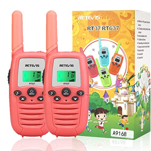Retevis RT637 Walkie Talkies Niños de 6 a 12 Años, Juguetes Regalos con Linterna LCD, 16 Canales VOX Largo Alcance, Viajes Familiares, Vocación (Rosa, 2 Pieza)
