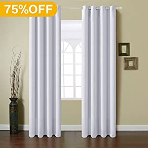 Fairyland Blackout Window Curtains Grommet Thermal Insulated Drapes 2 Panels 250g for Bedroom&living Room(Greyish White  52x84 in)