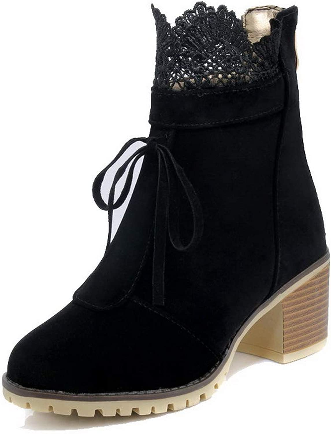WeiPoot Women's Imitated Suede Zipper Round-Toe Kitten-Heels Ankle-High Boots, EGHXH116370