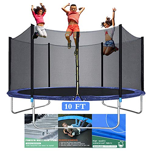 10FT Trampoline for Kids - Outdoor Backyard Trampoline with Safety Enclosure Net Bounding Bed Spring Pad, Exercise Gym Fitness Trampoline Sports power Round Jumping Table Equipment for 4-5 Kids Adults