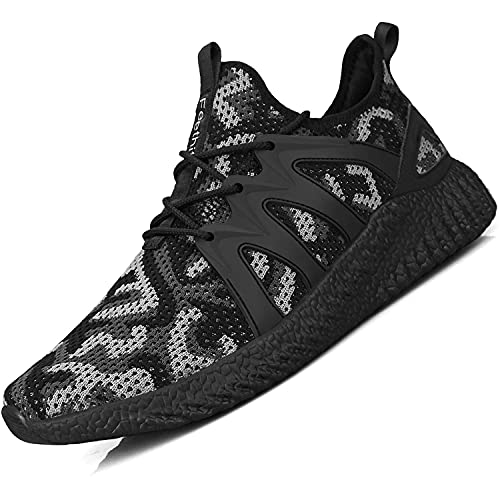 Giniros Mens Trainers Running Shoes Walking Shoes Gym Sports Training Shoes Casual Shoes Camouflage Black 275mm Label 45 UK 10