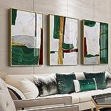 Arte abstracto de la pared pintura verde geométrico lámina de oro lienzo impresión del cartel decoración moderna del hogar decoración de la sala de estar imagen 40x50cm (16x20in) x3 con marco
